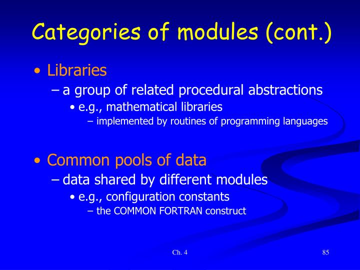 Categories of modules (cont.)