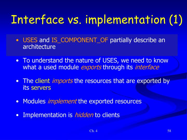 Interface vs. implementation (1)