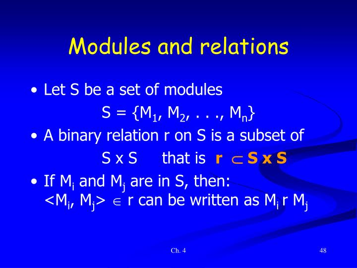 Modules and relations