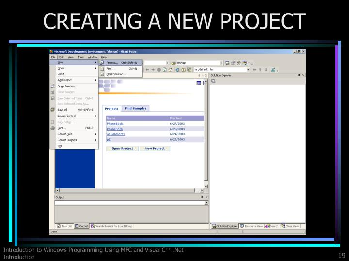 CREATING A NEW PROJECT