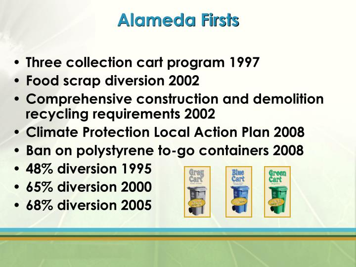 Alameda firsts