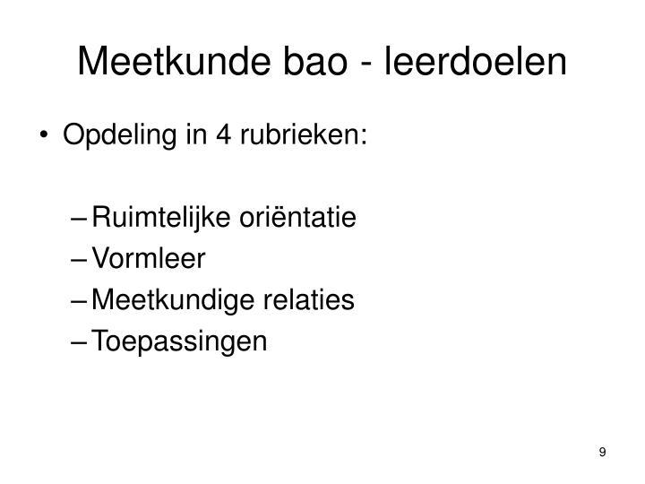 Meetkunde bao - leerdoelen