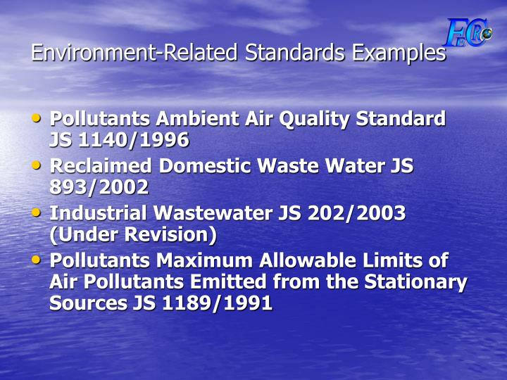 Environment-Related Standards Examples