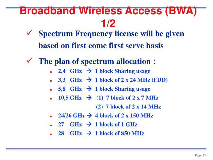Broadband Wireless Access (BWA) 1/2