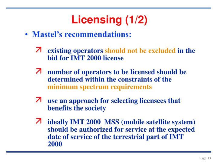 Licensing (1/2)