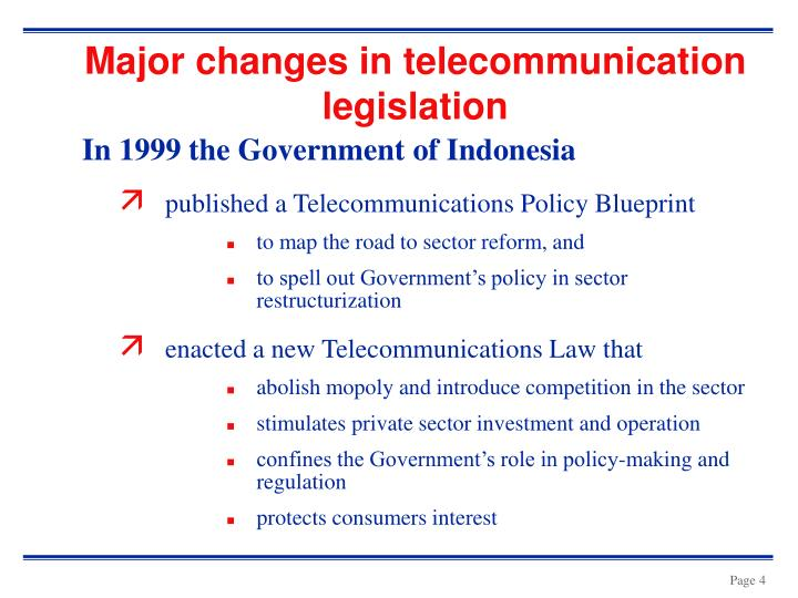 Major changes in telecommunication legislation