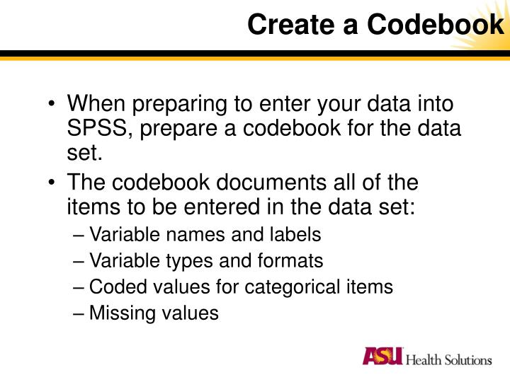 Create a Codebook