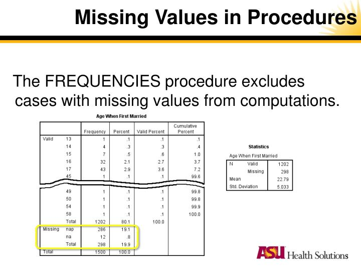 Missing Values in Procedures