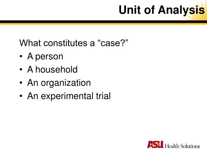 Unit of Analysis