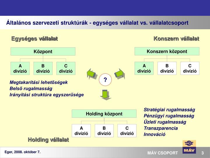 Általános szervezeti struktúrák - egységes vállalat vs. vállalatcsoport