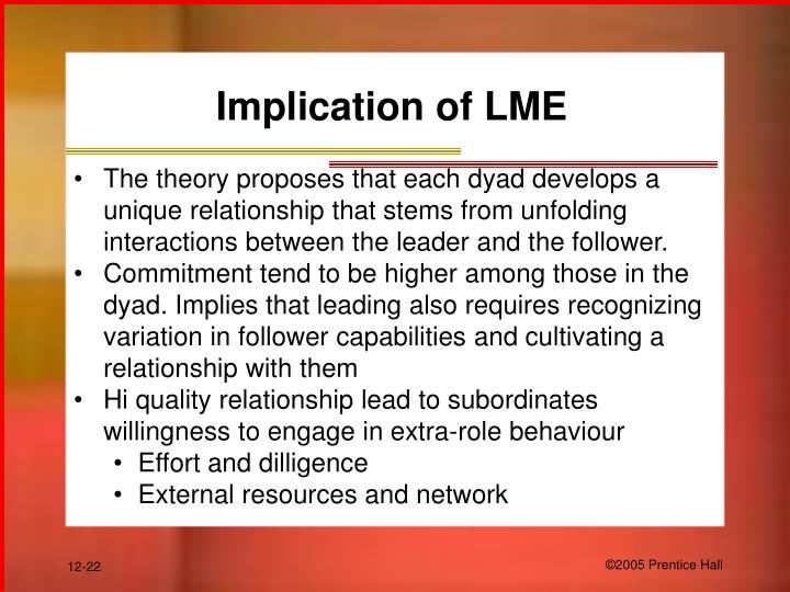 Implication of LME