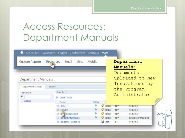 Access Resources: Department Manuals