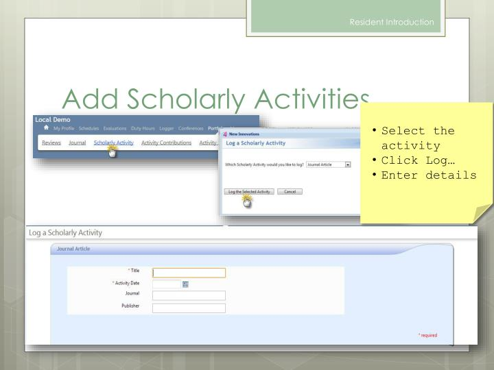 Add Scholarly Activities