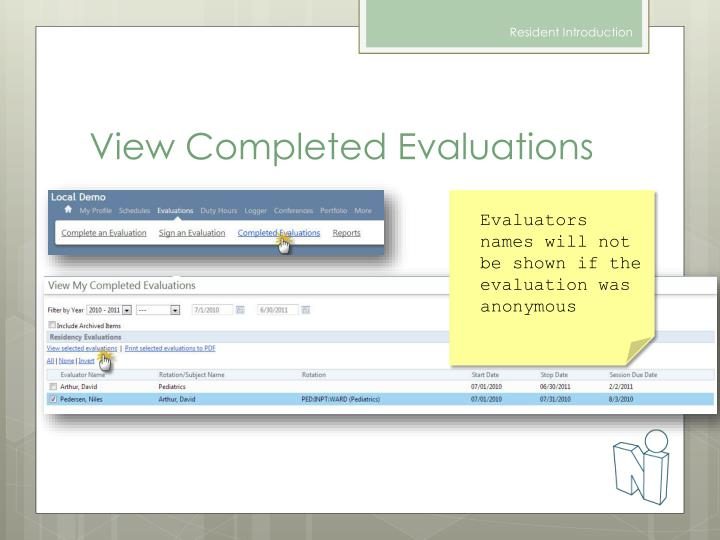 View Completed Evaluations