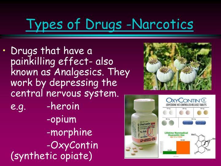 Types of Drugs -Narcotics