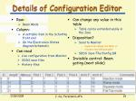 details of configuration editor