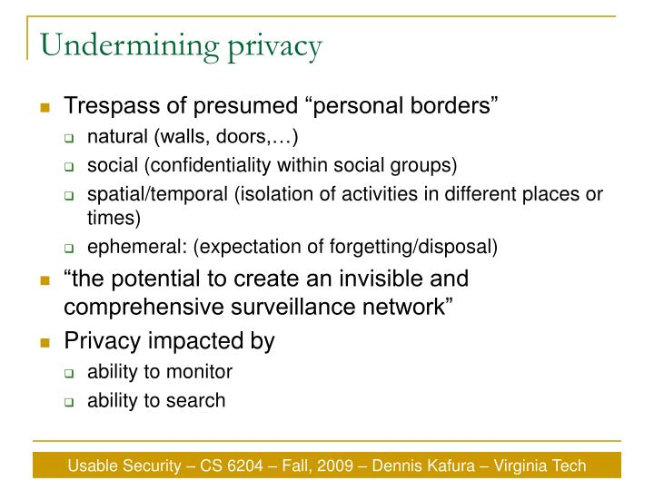 Undermining privacy