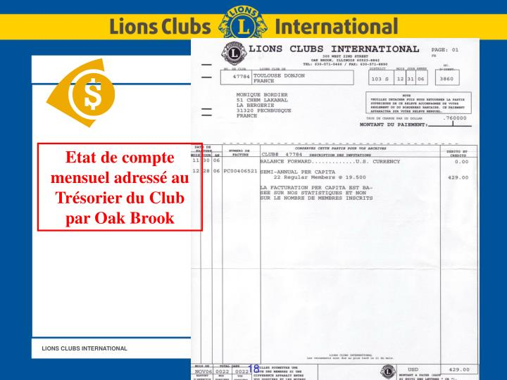 Etat de compte mensuel adressé au Trésorier du Club par Oak Brook