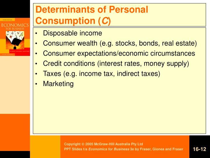 Determinants of Personal Consumption (
