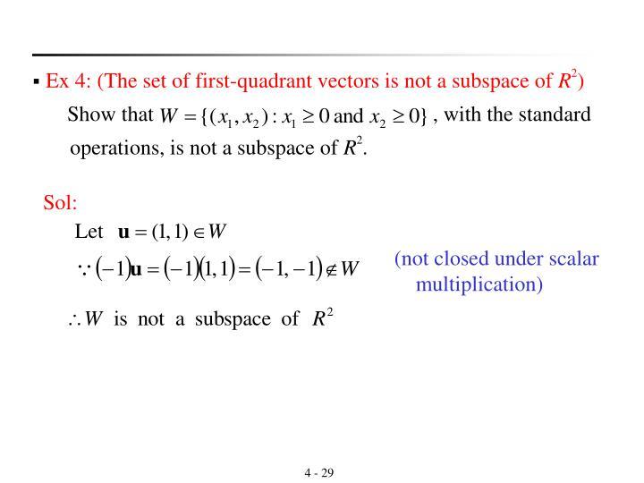 (not closed under scalar