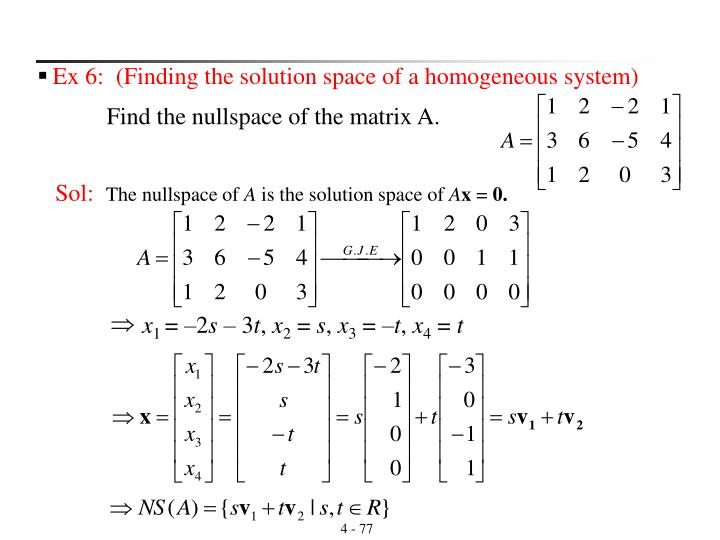 Ex 6:  (Finding the solution space of a homogeneous system)