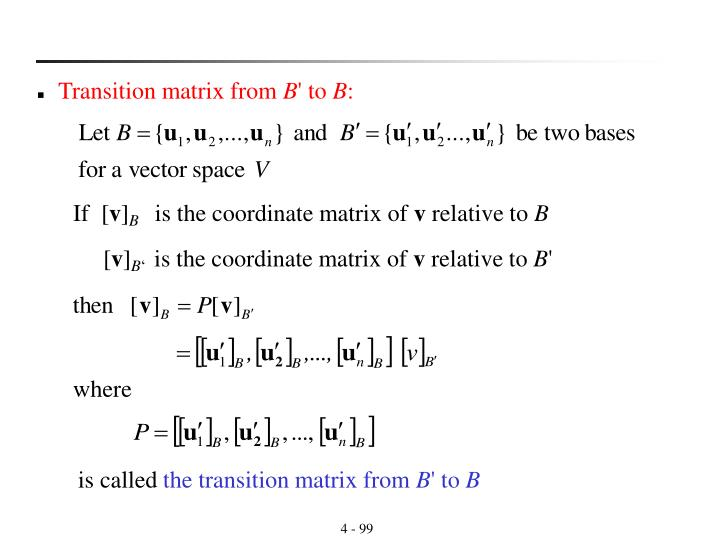 Transition matrix from