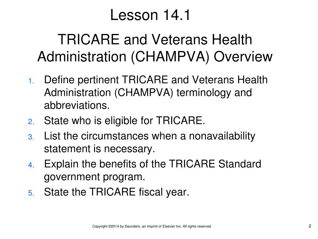 PPT - Chapter 14 TRICARE and Veterans' Health Care ...