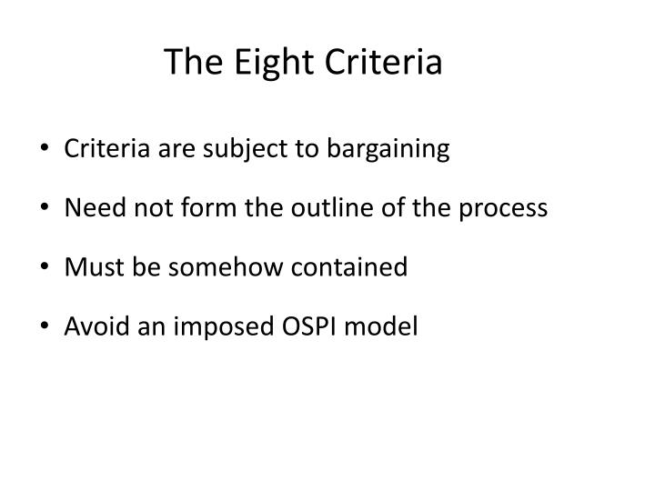 The Eight Criteria