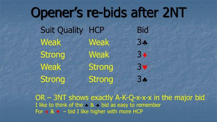 Opener's re-bids after 2NT