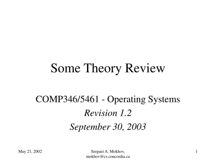 some theory review n.