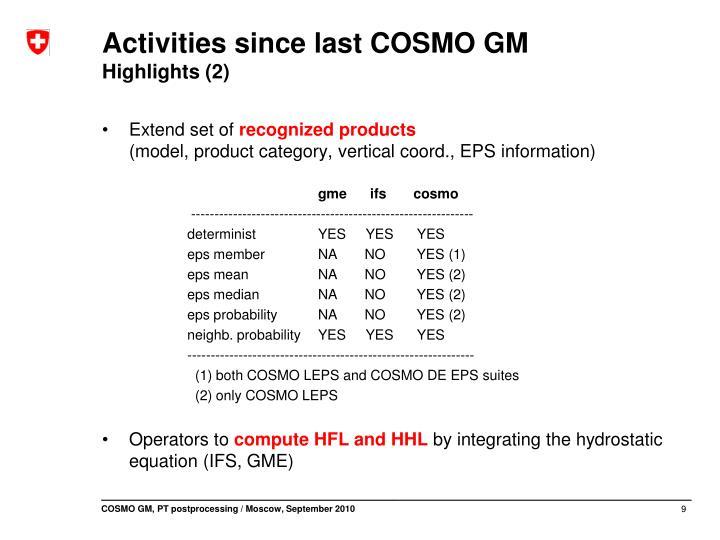Activities since last COSMO GM