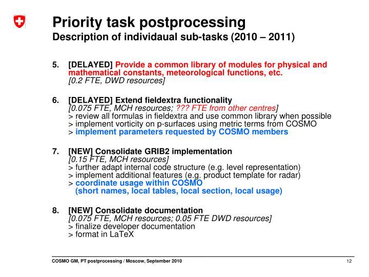 Priority task postprocessing