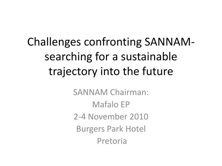 challenges confronting sannam searching for a sustainable trajectory into the future n.
