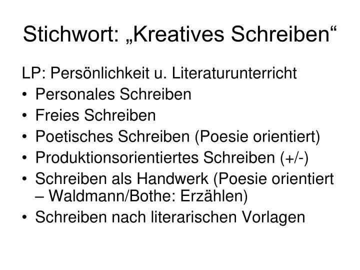 """Stichwort: """"Kreatives Schreiben"""""""