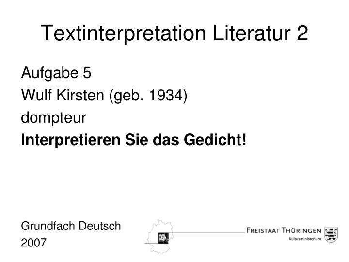 Textinterpretation Literatur 2