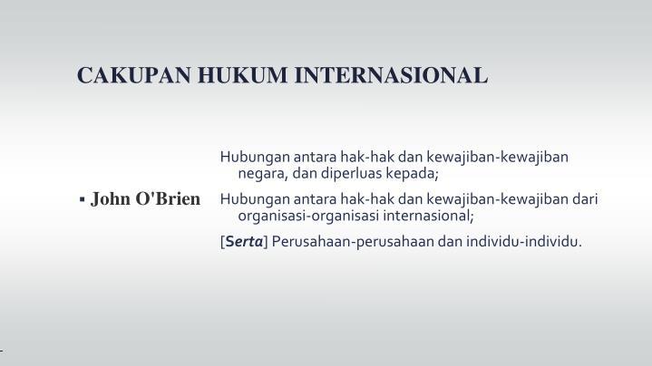 Hubungan antara hak-hak dan kewajiban-kewajiban negara, dan diperluas kepada;