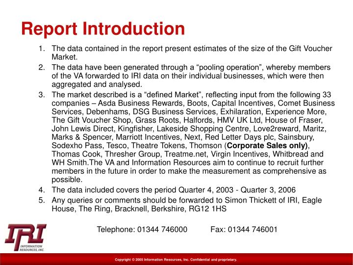 Report introduction