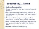 sustainability is must