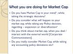 what you are doing for market cap