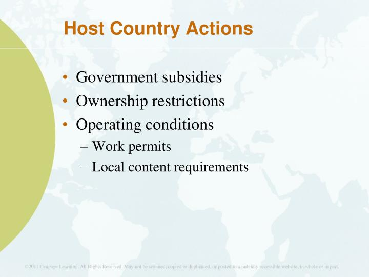 Host Country Actions