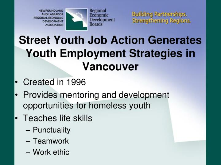 Street youth job action generates youth employment strategies in vancouver