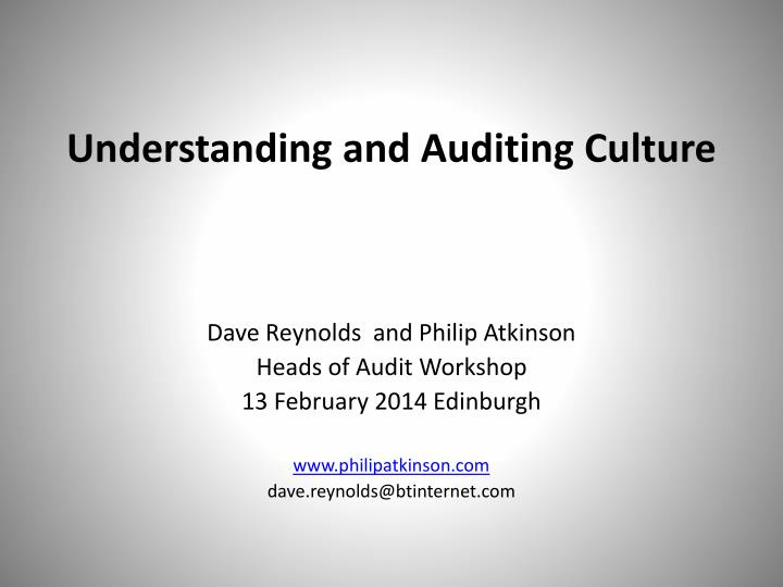 understanding and auditing culture n.