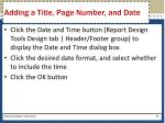 adding a title page number and date1