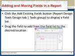 adding and moving fields in a report