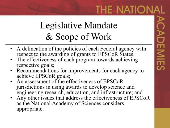 A delineation of the policies of each Federal agency with respect to the awarding of grants to EPSCoR States;