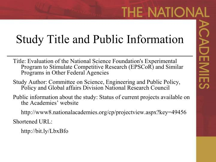 Study title and public information