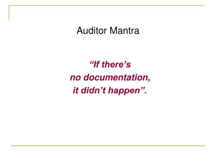 Auditor Mantra