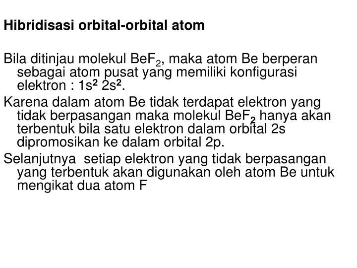 Hibridisasi orbital-orbital atom
