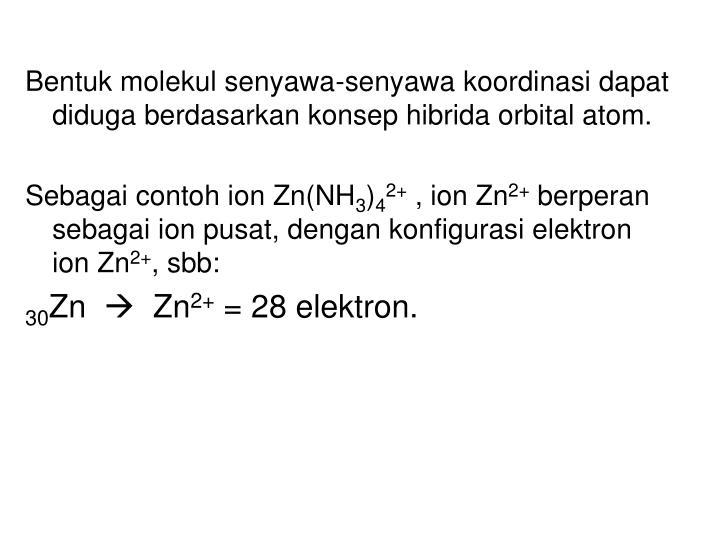 Bentuk molekul senyawa-senyawa koordinasi dapat diduga berdasarkan konsep hibrida orbital atom.