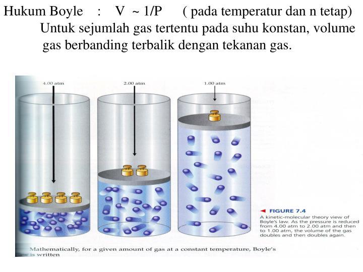 Hukum Boyle    :    V  ~ 1/P      ( pada temperatur dan n tetap)
